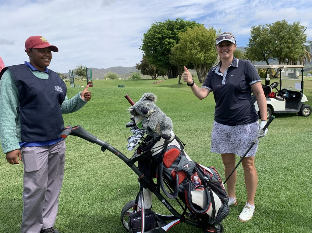 Vicki Traut from Western Province celebrates with her caddie Melissa Nobel