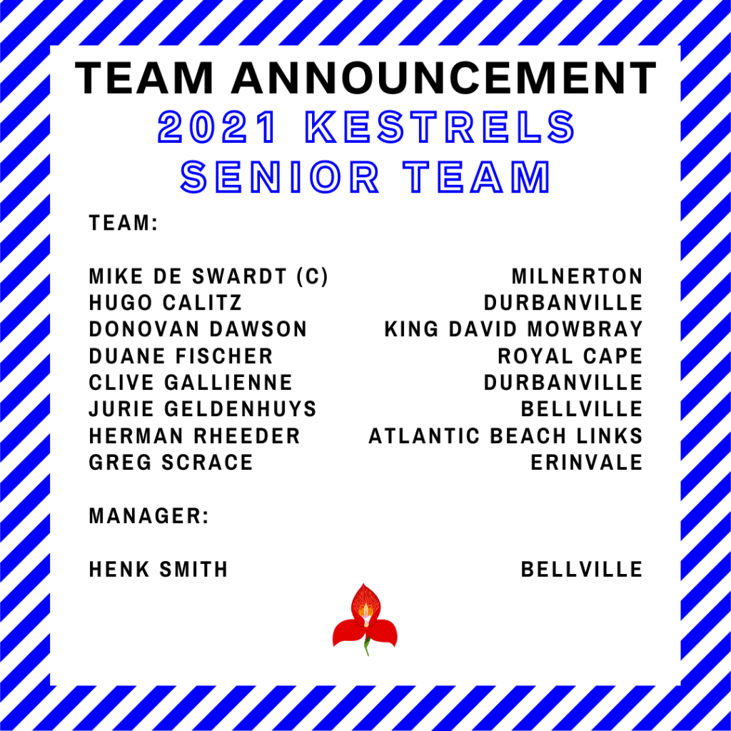 Kestrels Senior Team 2021