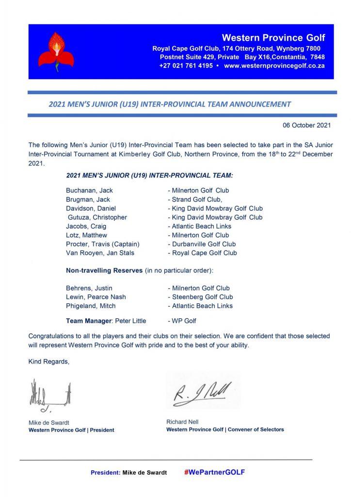 WP Golf - Men's Junior U19 Team Annoucement